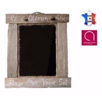 BO TIME - Miroir en bois flotté vieilli avec inscription marine personnalisable - Fabriqué à la main en France