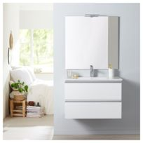 Meuble de salle de bain à suspendre blanc 80 cm + miroir + éclairage -  Série Dynamic 2 tiroirs