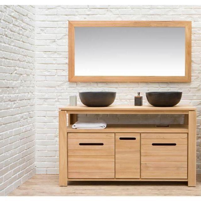 Aucune - Morea Ensemble salle de bain en bois teck massif double ...