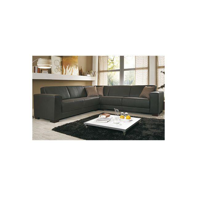 Canapé d'angle pieds en bois - coloris chocolat