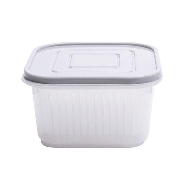 Wewoo Cuisine Réfrigérateur Boîte De Rangement Drain De Fruits Et Légumes Avec Capuchon Gris