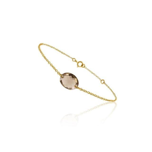 Tousmesbijoux Bracelet chaine Or jaune 750/00 et quartz fumé taille ovale