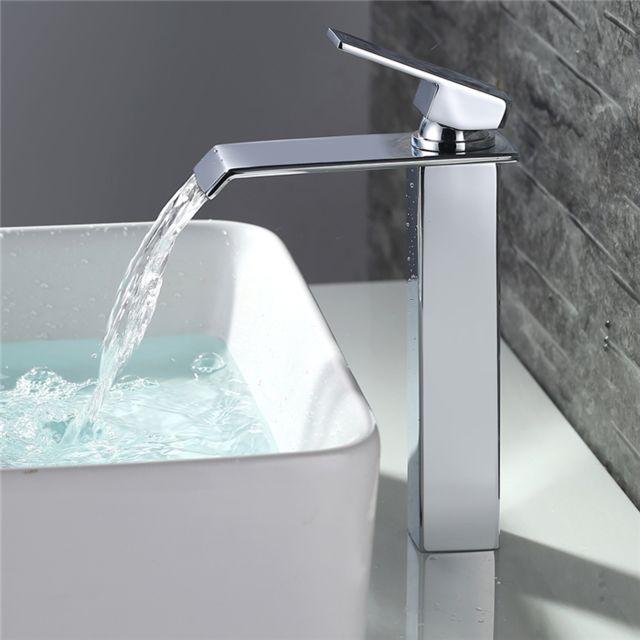 Robinet Salle de Bain Cascade Mitigeur de Lavabo Chromé Haut Bec Robinet  pour Vasque Design Unique 2 Flexibles Fournis