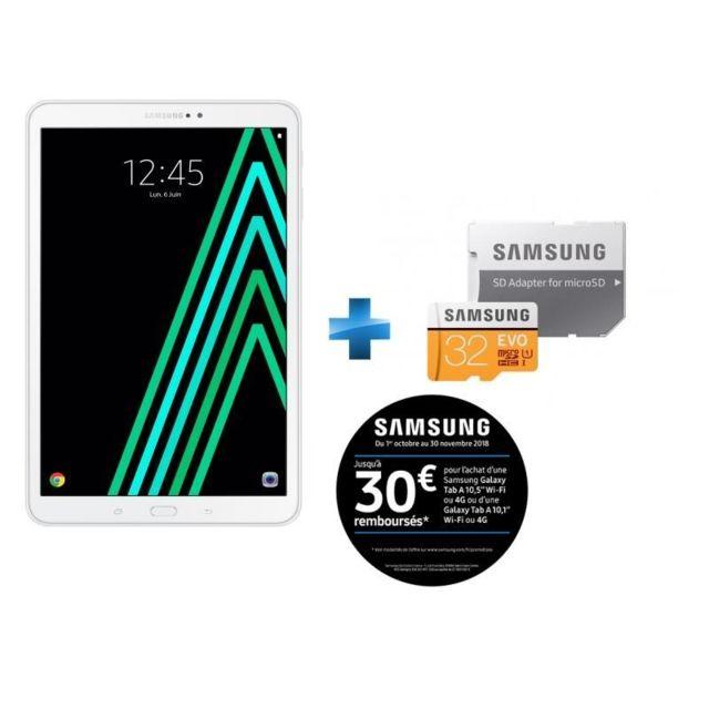 Samsung - Galaxy Tab A6 - 10,1'' - 32 Go - Blanc + Carte Micro SDXC EVO - 32 Go - MP32GA/EU