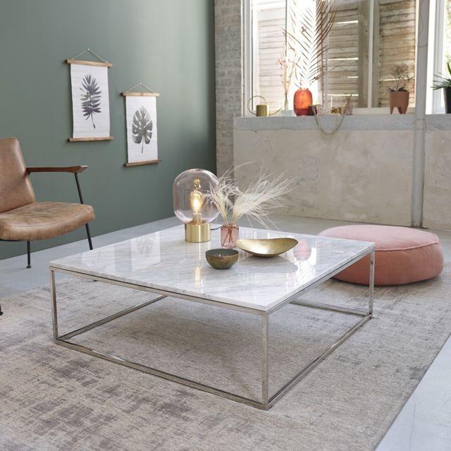 Bois Dessus Bois Dessous Table basse carrée en marbre et métal 100