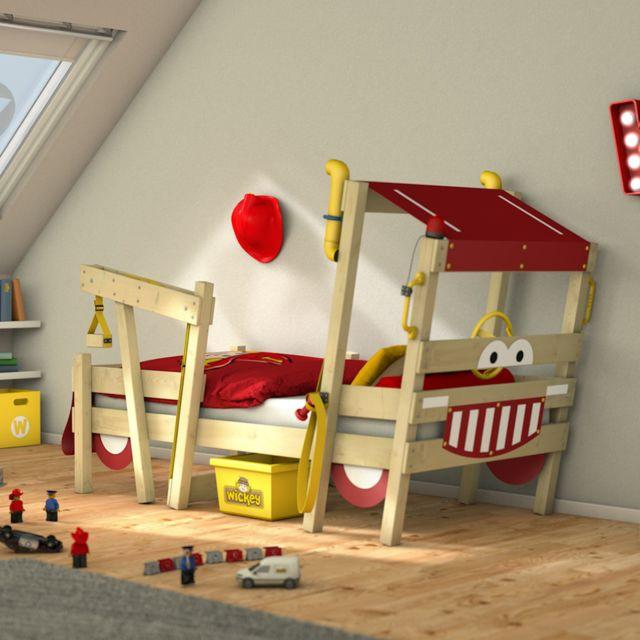 WICKEY lit enfant 'Crazy Sparky Max' design Pompier - Lit simple en bois massif - 90x200 cm