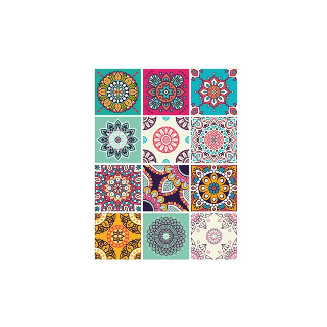 Adhesif Carrelage Sticker Carreaux De Ciment Mandacolor 12 Pieces 20 X 20 Cm