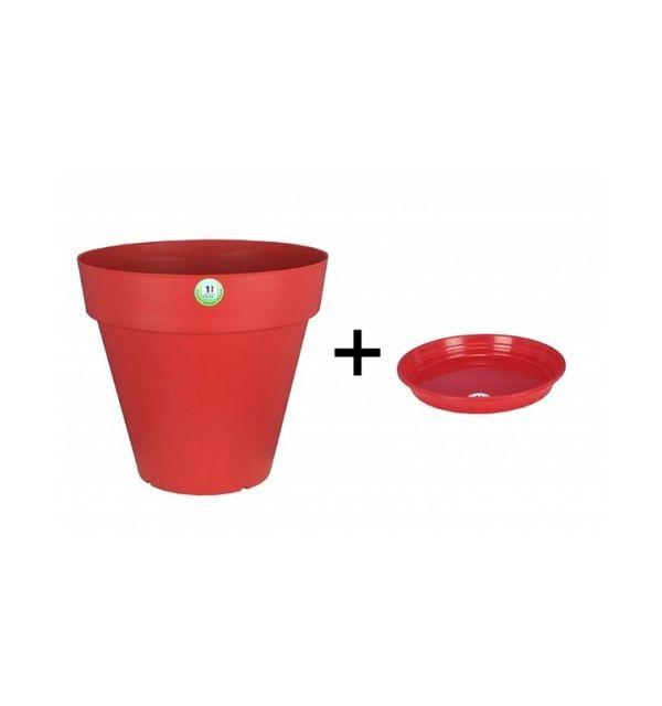 Riviera & Bar Pot et Soucoupe Soleilla diametre 50cm H45cm rouge - Riviera