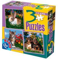 Dtoys - Puzzle de 6 à 16 pièces : 3 puzzles : Lapin, chaton et chiots
