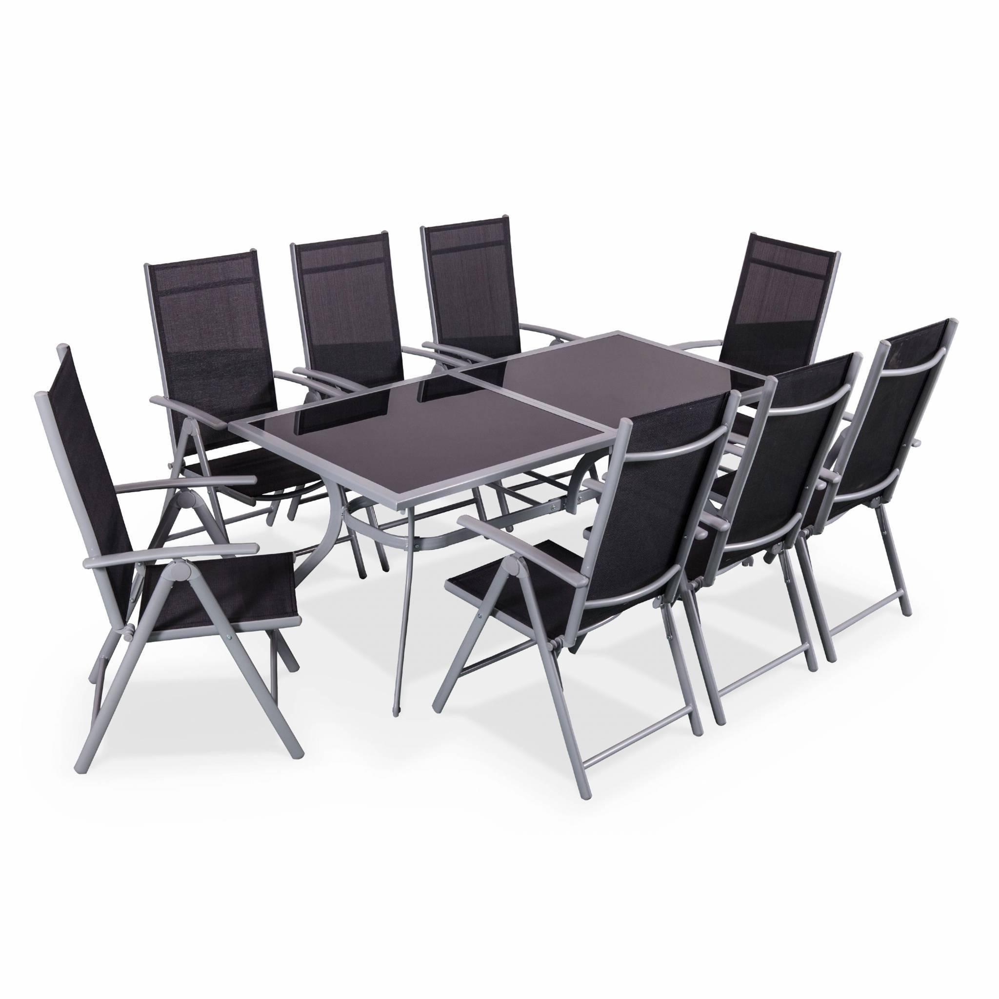 Naevia Gris / Noir - Salon de jardin en aluminium table 8 places gris textilène fauteuil