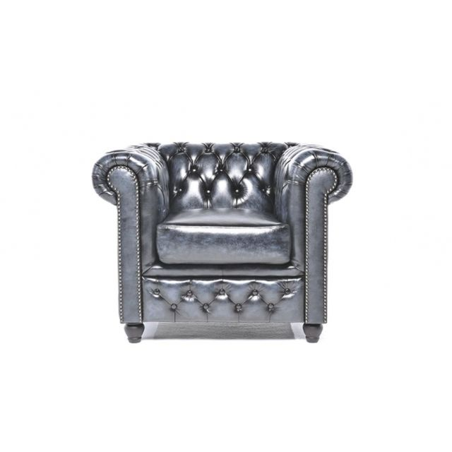 Chesterfield Origine Fauteuil Antique Bleu