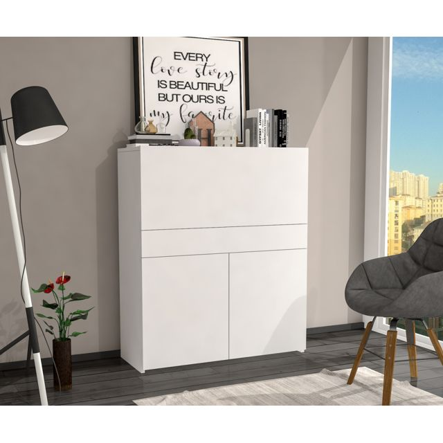 Homense Bureau Secretaire Design Fonctionnel Blanc Pas