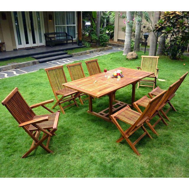 Wood En Stock Salon en teck huilé 8 places - table 120-180 cm