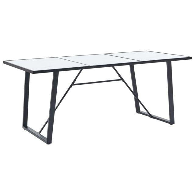 Distingué Tables famille Libreville Table de salle à manger Blanc 200x100x75 cm Verre trempé