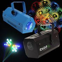 Ibiza Light - Pack soirée 2 Jeux de lumière Effet MoonFlower Gobo Lcm002 + Jeu 56 Leds Rvba Bleu Lcm003