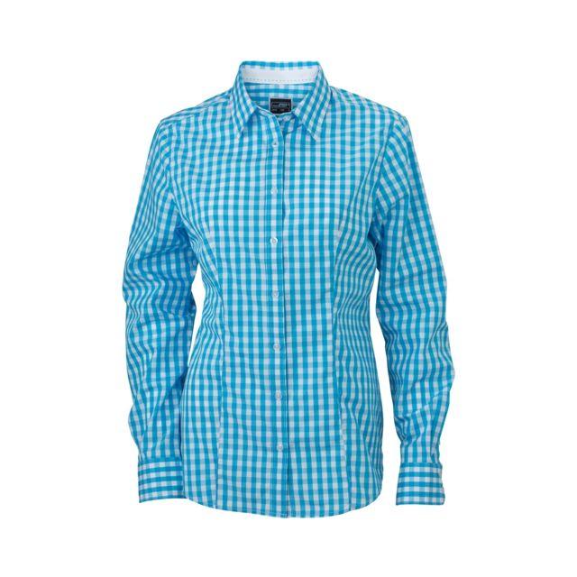 James & Nicholson chemisier chemise manches longues Femme carreaux vichy Jn616 - bleu turquoise