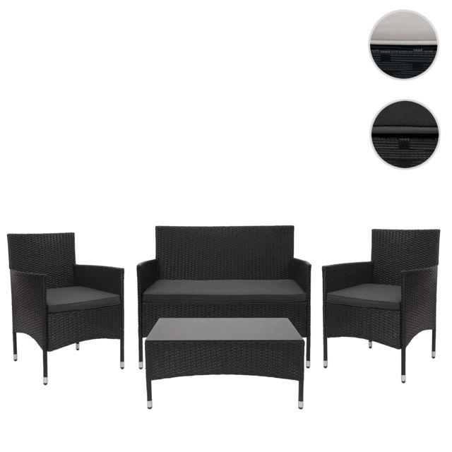 Mendler Garniture en polyrotin Hwc-f55, ensemble fauteuils, banc et table, balcon/jardin ~ noir, coussins gris foncé