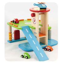 Milly Mally - Garage parking 2 niveaux circuits des véhiciules en bois enfant 3ans+   Multicolore