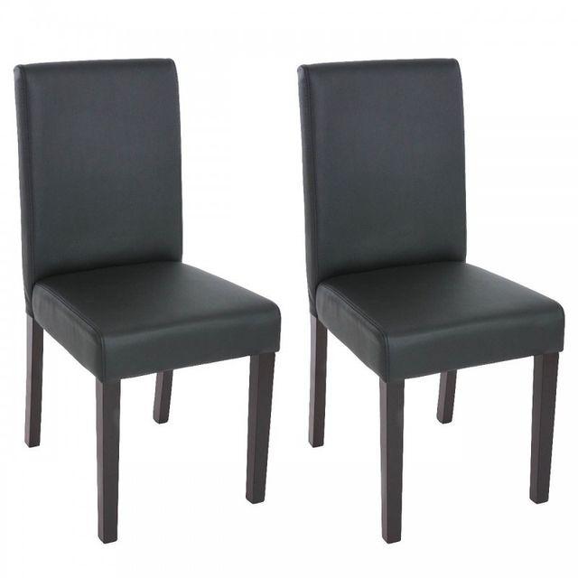 Lot de 2 chaises de salle à manger simili cuir noir mat pieds foncés Cds04035