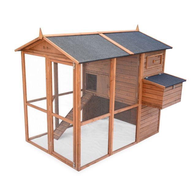 ALICE'S GARDEN Poulailler en bois COTENTINE, 6 à 8 poules, cage à poule avec enclos