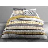 Today - Parure housse de couette + taies 100% coton ligne motif graphique gris/jaune Grafism - 240x220cm - 240x220cm