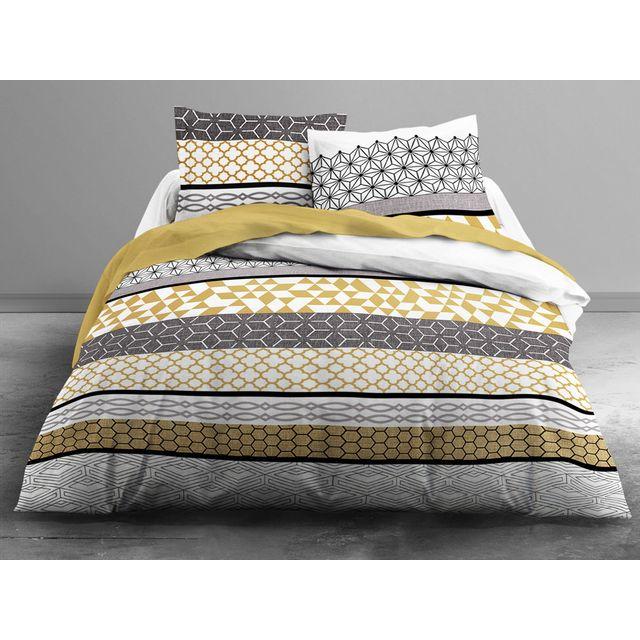 today parure housse de couette taies 100 coton ligne motif graphique gris jaune grafism. Black Bedroom Furniture Sets. Home Design Ideas