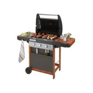 campingaz barbecue gaz 3 br leurs 61x46cm gril plancha chariot bois 3 series woody ld pas. Black Bedroom Furniture Sets. Home Design Ideas