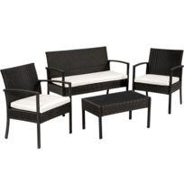 Salon de jardin SPARTE - 2 Fauteuils, 1 Canapé, 1 Table en Résine Tressée  Noir