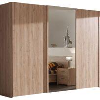 comforium armoire 250x216 cm 2 portes coulissantes 1 porte miroir coulissante coloris - Porte De Chambre Coulissante