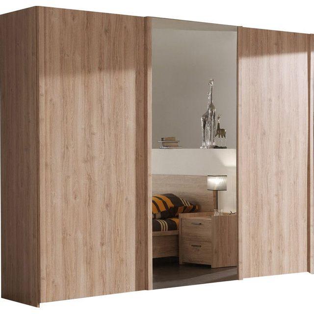Armoire 250x216 cm à 2 portes coulissantes + 1 porte-miroir coulissante  coloris chêne chambord