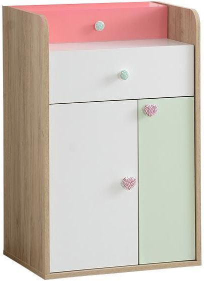 Comforium Commode 62 cm avec 2 tiroirs et 2 portes coloris rose blanc et vert