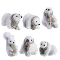 Marque Generique - Lot de 6 petites figurines animaux de Noël 4 ours, 1 écureuil et 1 pingouin avec écharpe grise 10cm