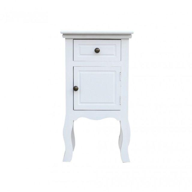 mobili rebecca table de nuit chevet 1 tiroir 1 port bois blanc classique chambre