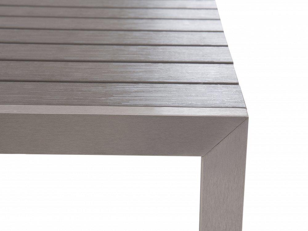 Table de jardin et deux bancs aluminium avec plateau en polywood brun 180 cm Nardo