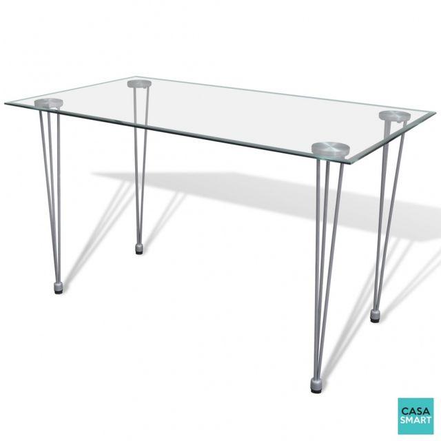 Casasmart Table design 120 x 70 cm avec plateau en verre