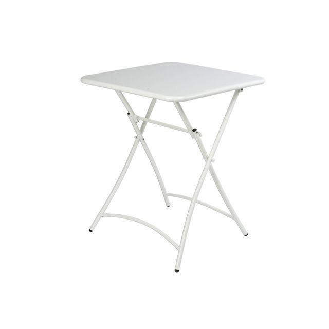JARDIDECO - Table de jardin pliante carrée Malmö Blanc - pas cher ...