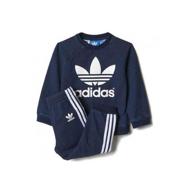 Adidas originals - Survêtement Crew Bleu denim Bébé Garçon Adidas ... b21002c5a5da