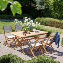 Salon de jardin en bois d'acacia 150x90 Fsc