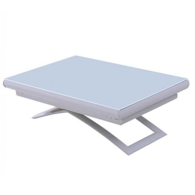 Inside 75 Table relevable extensible Mirage compacte verre laqué blanc 106 71 cm