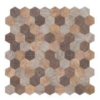 Carrelage - Plaquette De Parement - Brique De Verre - Decor - Plinthe  Carrelage Mosaique adhésive en bois 30,5 x 30,5 cm - Marron