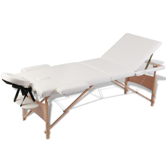 Rocambolesk - Superbe Table de Massage Pliante 3 Zones Crème Cadre en Bois Neuf