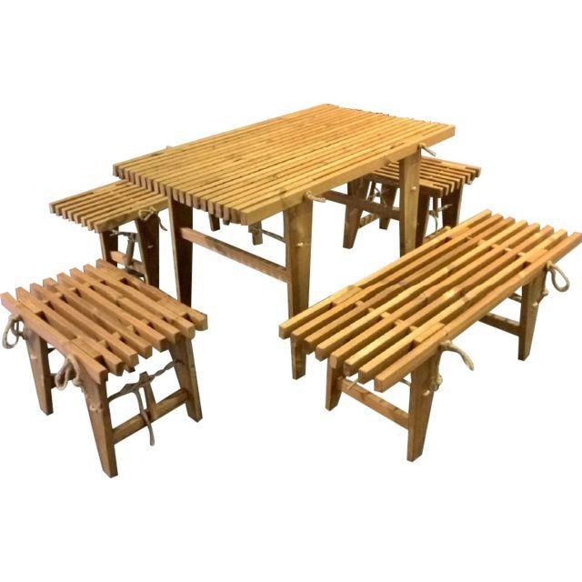 ECOFURN Salon de jardin table et bancs mélèze