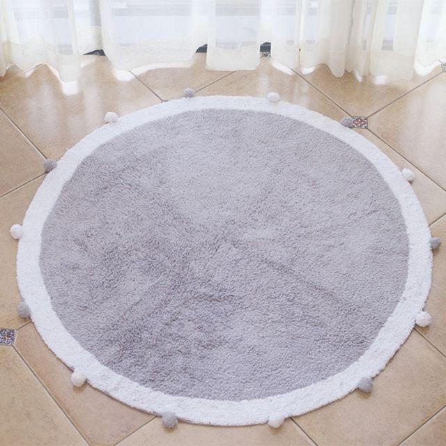 Wewoo Paillasson rond de tapis de de coton d'enfants de ménage de de boulediamètre 1.2m gris