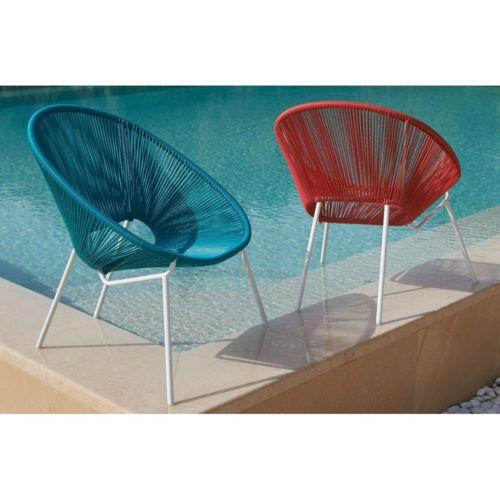 carrefour fauteuil de jardin cordes acapulco acier et cordes en pvc turquoise pas cher. Black Bedroom Furniture Sets. Home Design Ideas