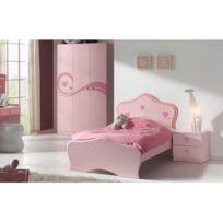 - Ensemble lit 90x200cm + chevet + armoire coloris rose