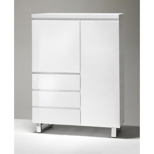 Inside 75 Commode haute Altona blanc laqué brillant 2 portes 3 tiroirs piétement en métal chrome