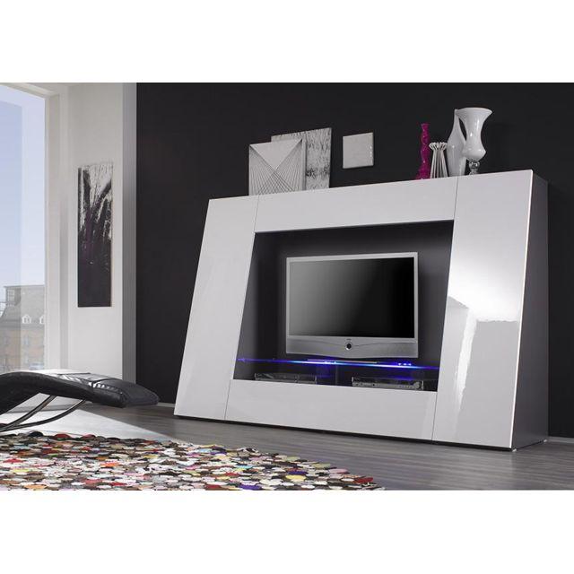 Envie De Meubles Meuble Tv Blanc Laque Avec Led Pix Pas Cher