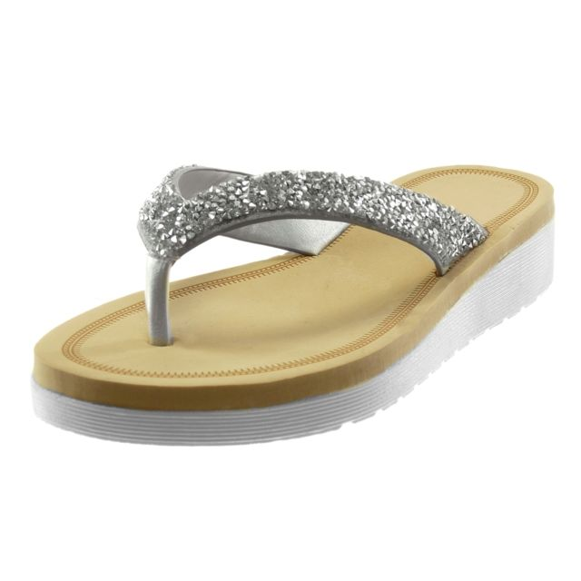 Angkorly sandale tong slip on strass diamant pas cher