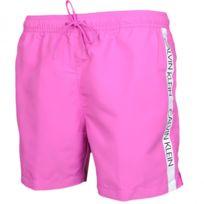 1e103af3610 Calvin Klein - Short de bain rose bande logo côté pour homme