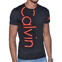 Calvin Klein - T Shirt Manches Courtes - Homme - Cmp13s Fluo - Noir Orange Fluo